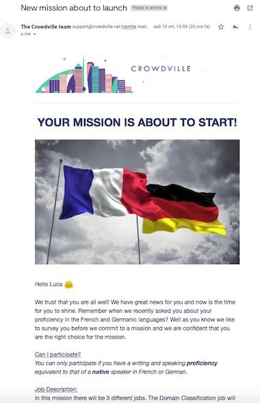 A mission on crowdville sent via email